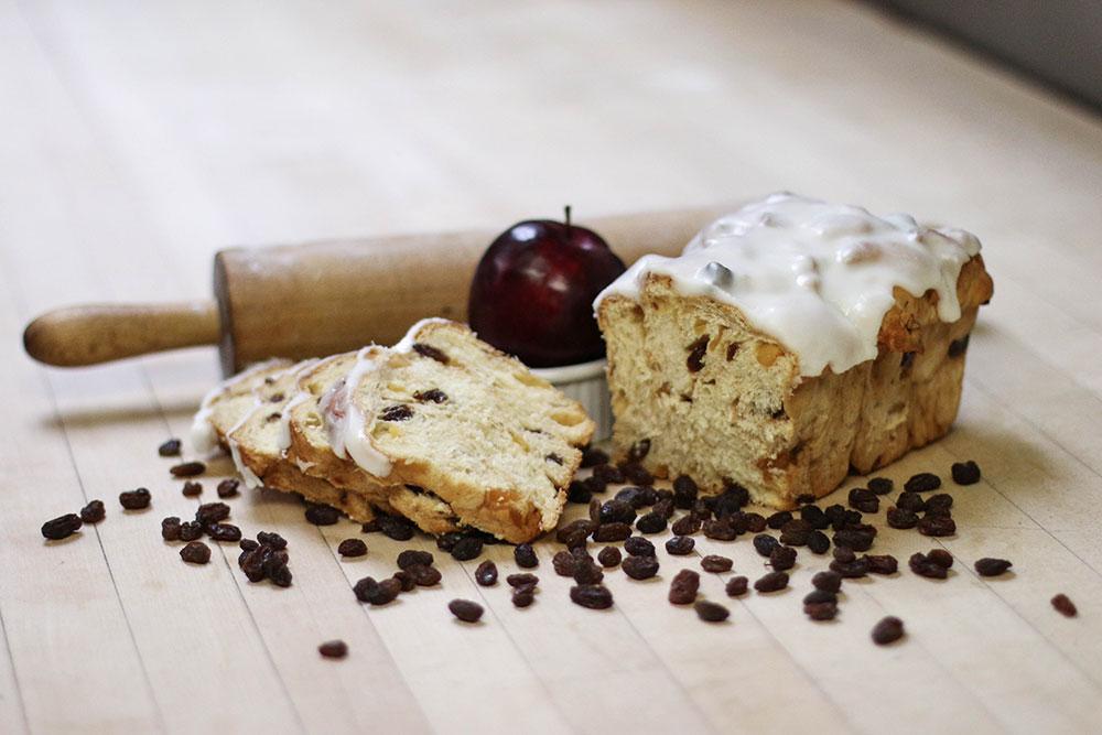Frosted Apple Raisin Bread